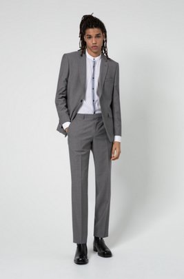Regular-fit suit in micro-patterned tropical wool, Light Grey