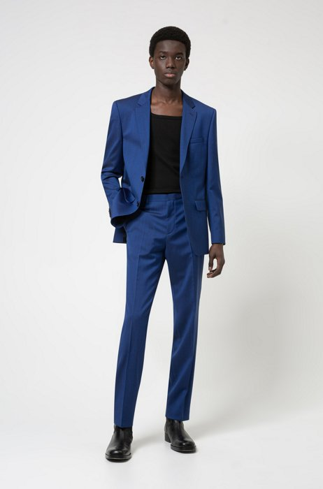 Regular-fit suit in micro-patterned tropical wool, Blue
