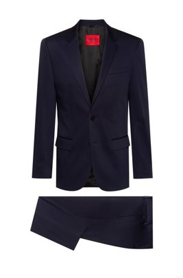 Slim-fit suit in stretch-cotton satin, Dark Blue