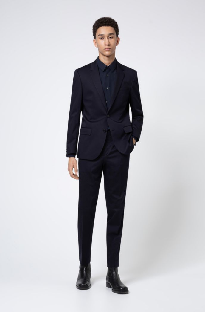 Slim-fit suit in stretch-cotton satin