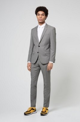 Slim-fit suit in patterned virgin wool, Light Grey