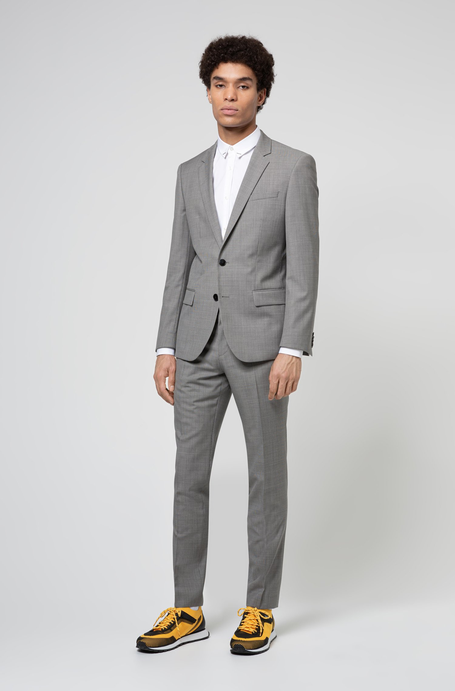 Slim-Fit Anzug aus gemusterter Schurwolle, Hellgrau