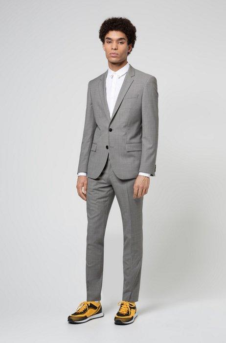 Slim-fit suit in patterned virgin wool, Light Grey