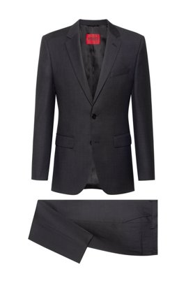 Regular-fit suit in micro-patterned virgin wool, Dark Grey