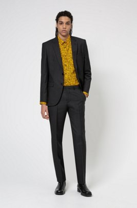 Regular-fit suit in micro-patterned virgin wool, Dark Grey