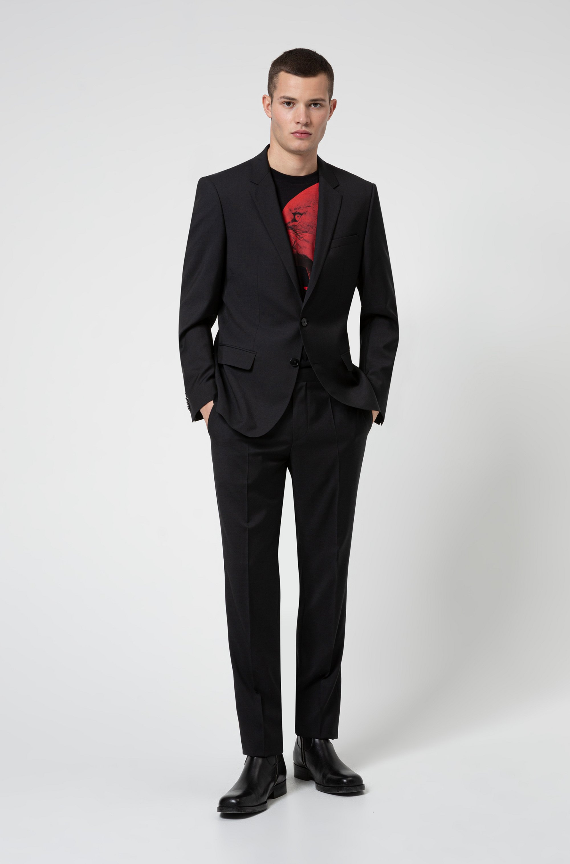 Contrast-lined slim-fit suit in tropical virgin wool