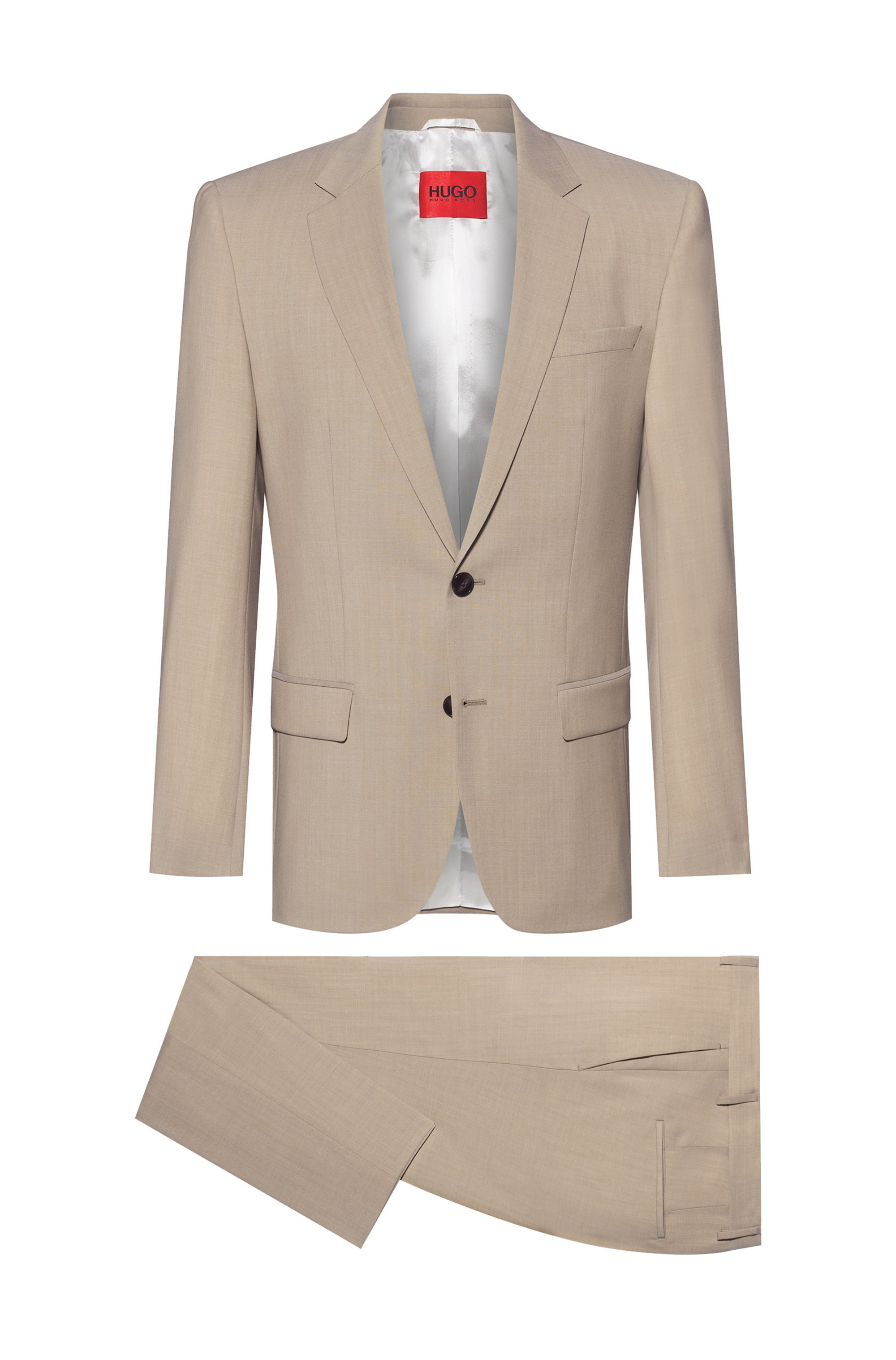 Contrast-lined slim-fit suit in tropical virgin wool, Light Beige