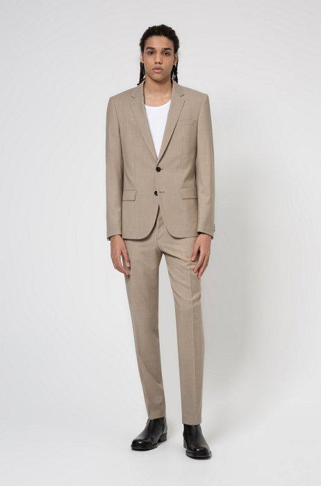 Slim-fit pak van tropische scheerwol met contrastvoering, Lichtbeige