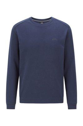 Crew-neck sweatshirt with piqué back panel, Dark Blue
