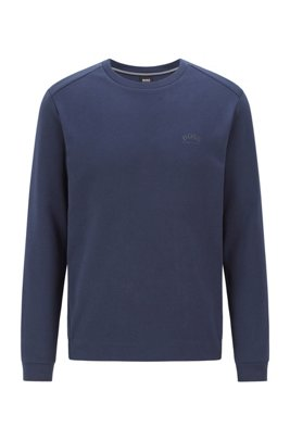 Crew-neck sweatshirt with piqué back panel, Dark Blue