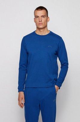 Crew-neck sweatshirt with piqué back panel, Blue