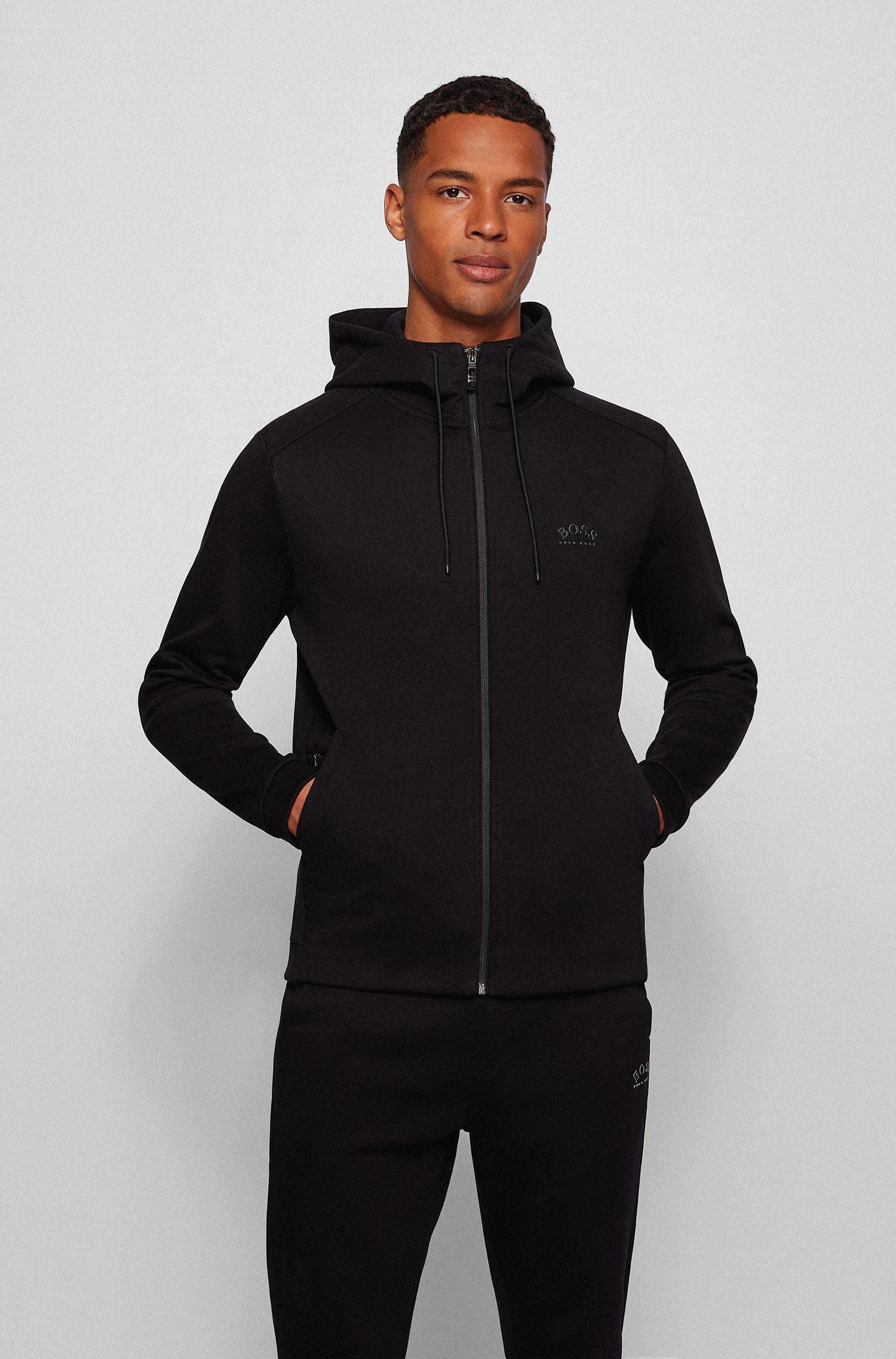 Mixed-structure hooded sweatshirt with zipped phone pocket, Black