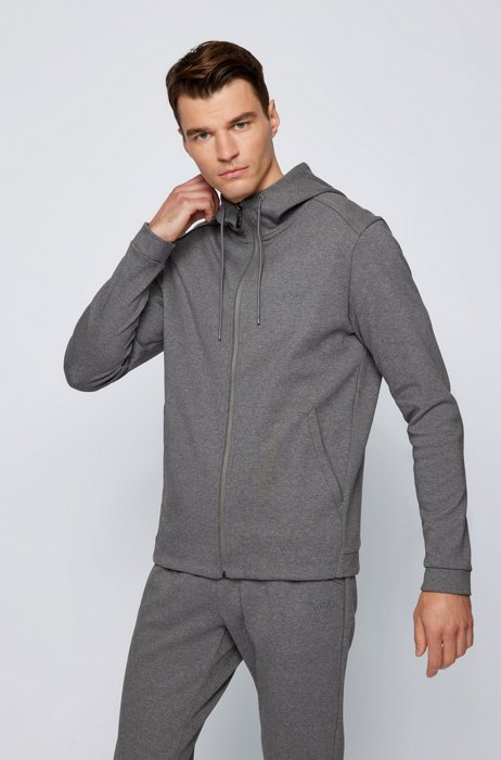 Mixed-structure hooded sweatshirt with zipped phone pocket, Grey