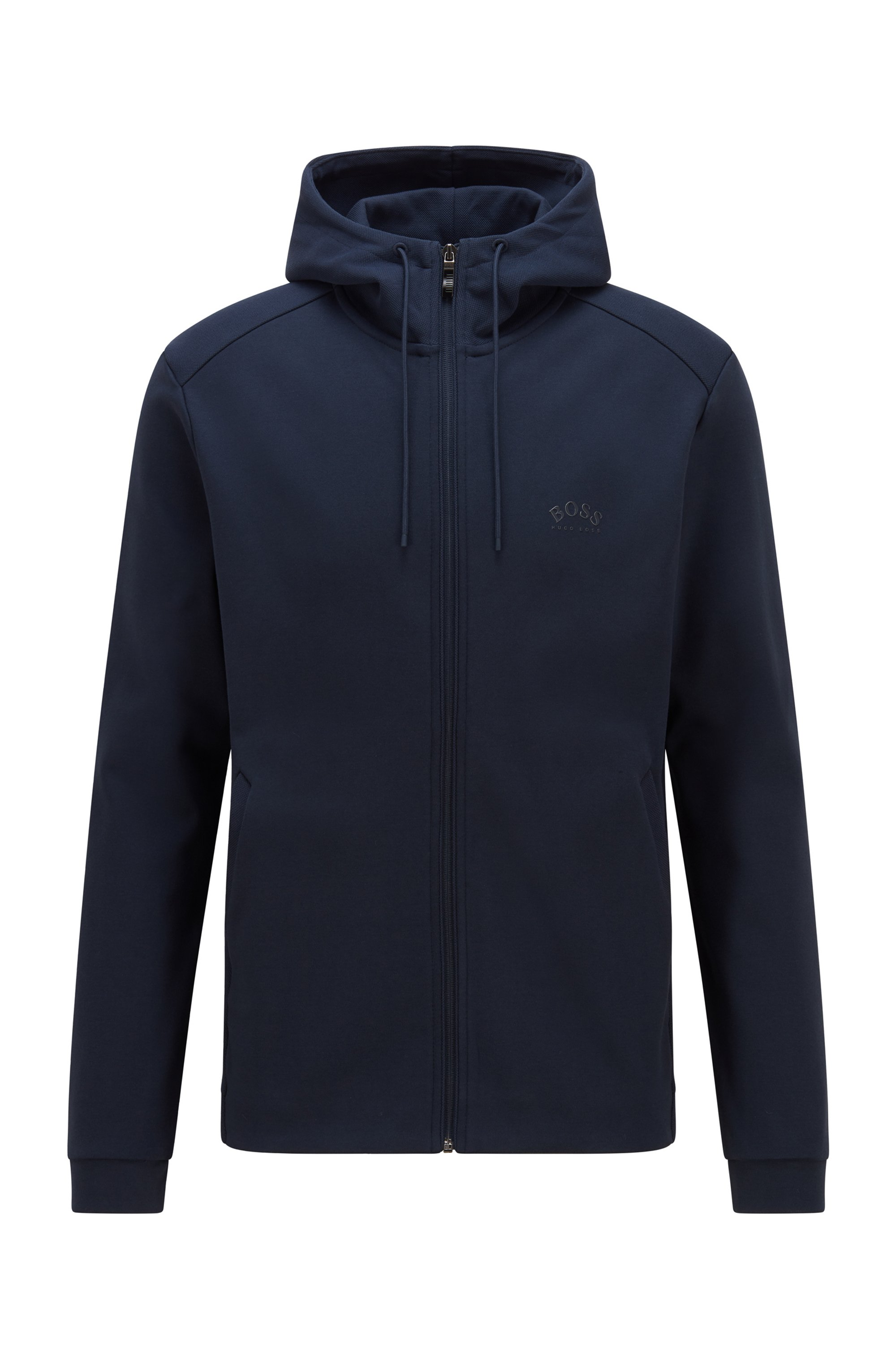 Mixed-structure hooded sweatshirt with zipped phone pocket, Dark Blue