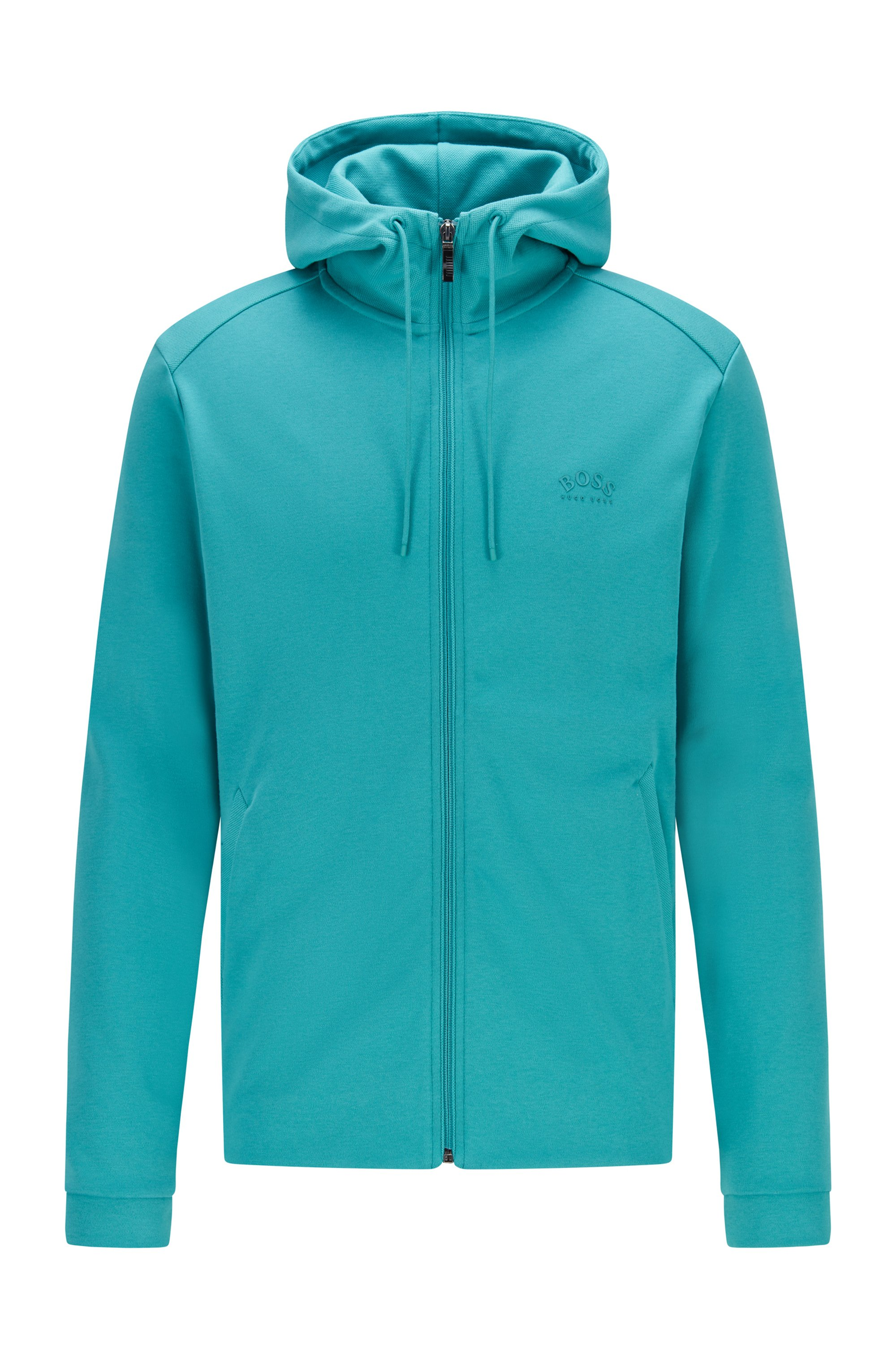 Mixed-structure hooded sweatshirt with zipped phone pocket, Turquoise