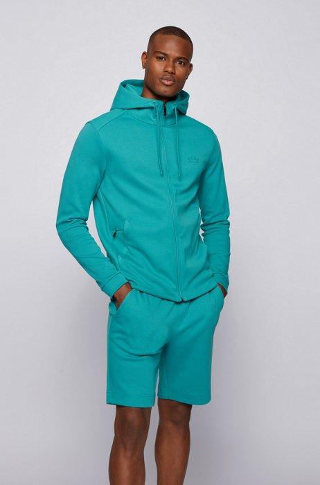Sweat à capuche aux structures mélangées, avec poche zippée pour téléphone, Turquoise