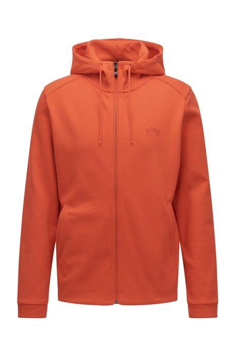 Mixed-structure hooded sweatshirt with zipped phone pocket, Orange