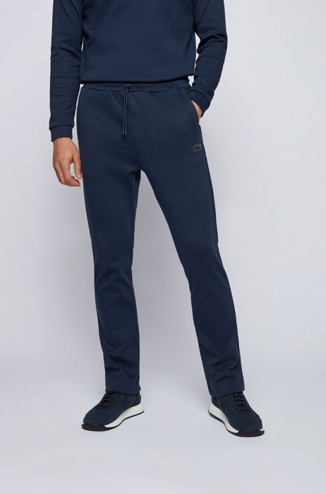 Cotton-jersey tracksuit bottoms with curved layered logo, Dark Blue