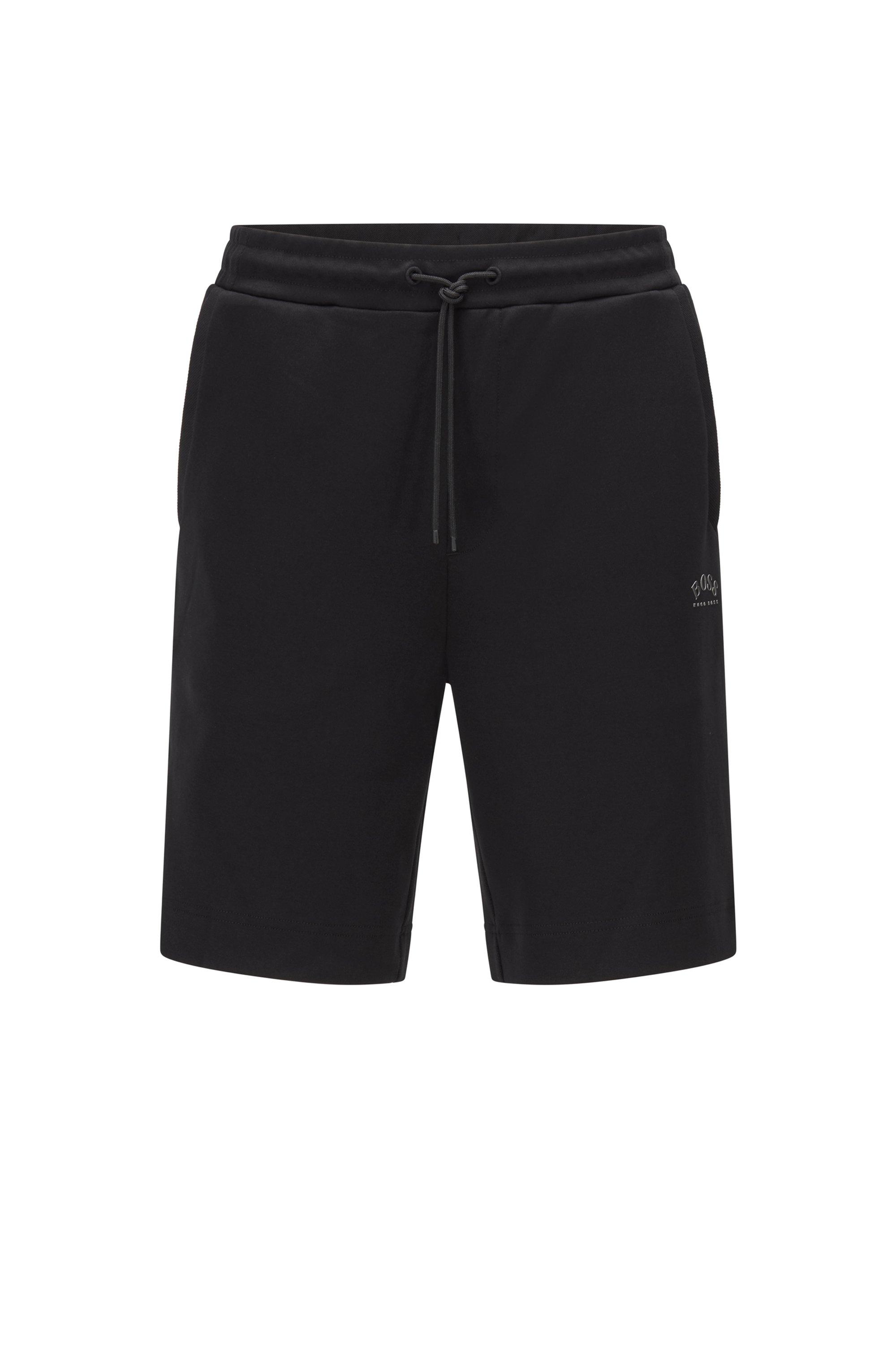 Shorts aus Baumwoll-Jersey mit Tunnelzug und tonaler Piqué-Struktur, Schwarz