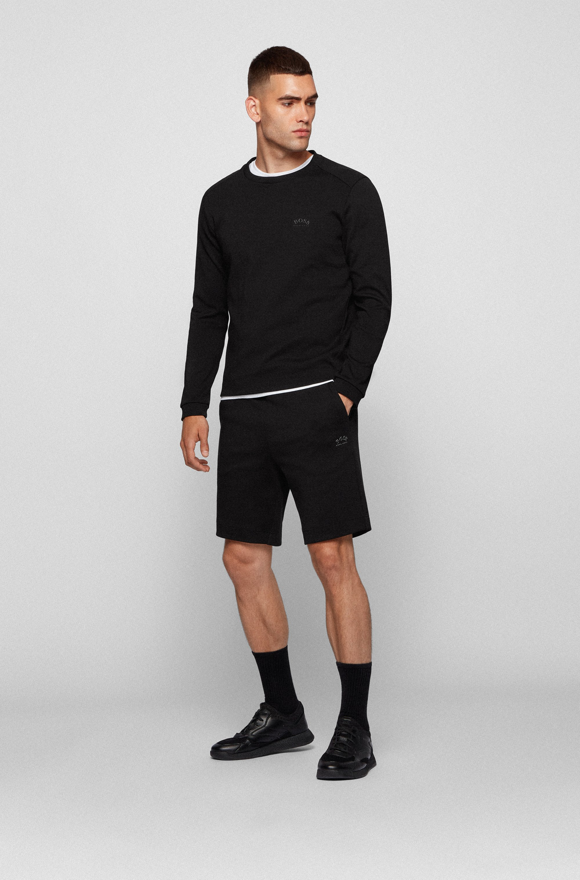 Drawstring shorts in cotton jersey with tonal piqué structure