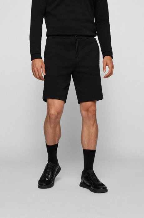 Drawstring shorts in cotton jersey with tonal piqué structure, Black
