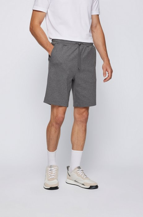 Drawstring shorts in cotton jersey with tonal piqué structure, Grey