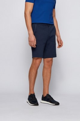 Drawstring shorts in cotton jersey with tonal piqué structure, Dark Blue