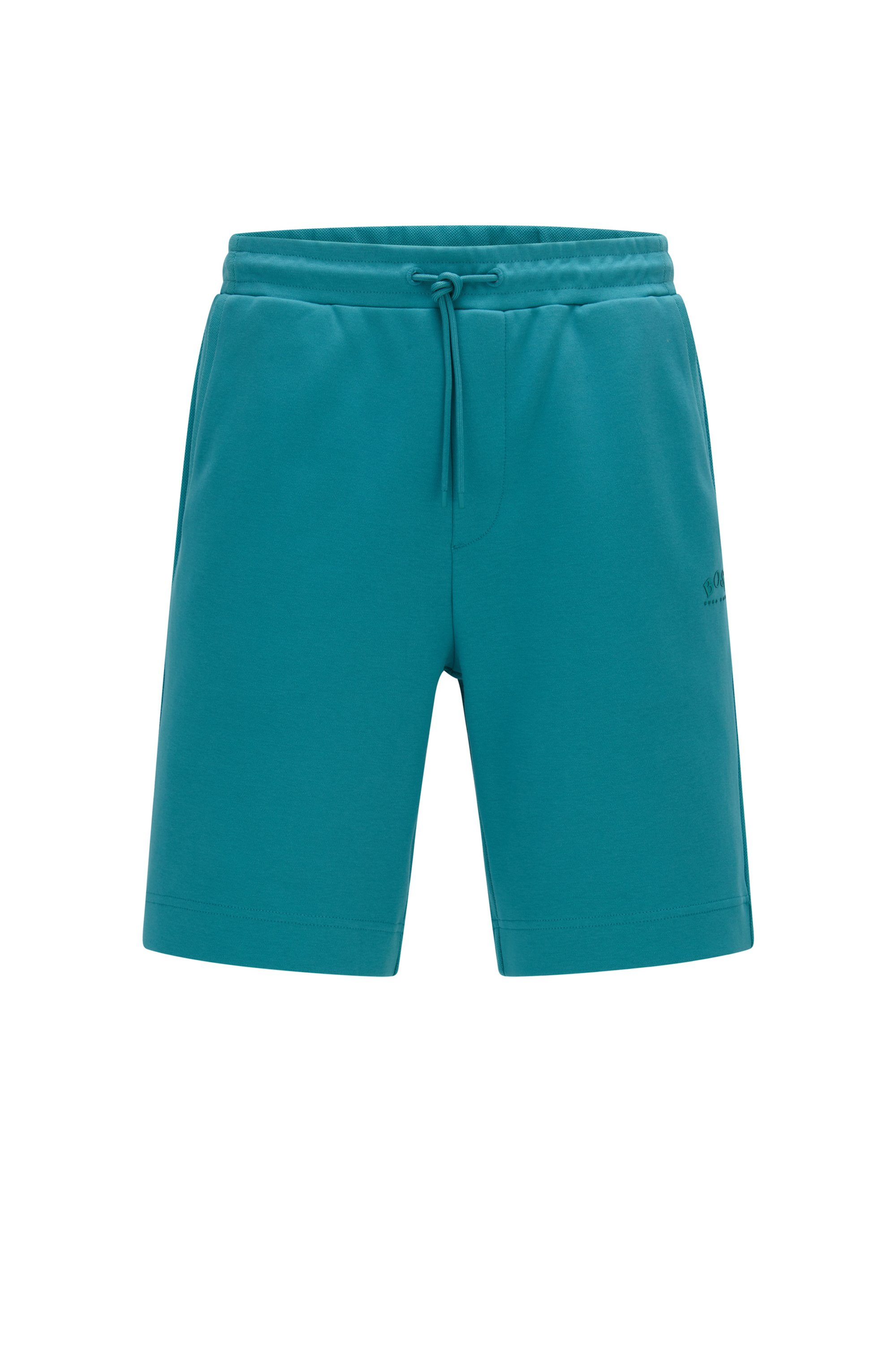 Drawstring shorts in cotton jersey with tonal piqué structure, Turquoise