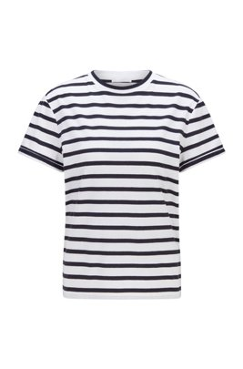 Striped crew-neck-T-shirt in cotton-blend jersey, Patterned