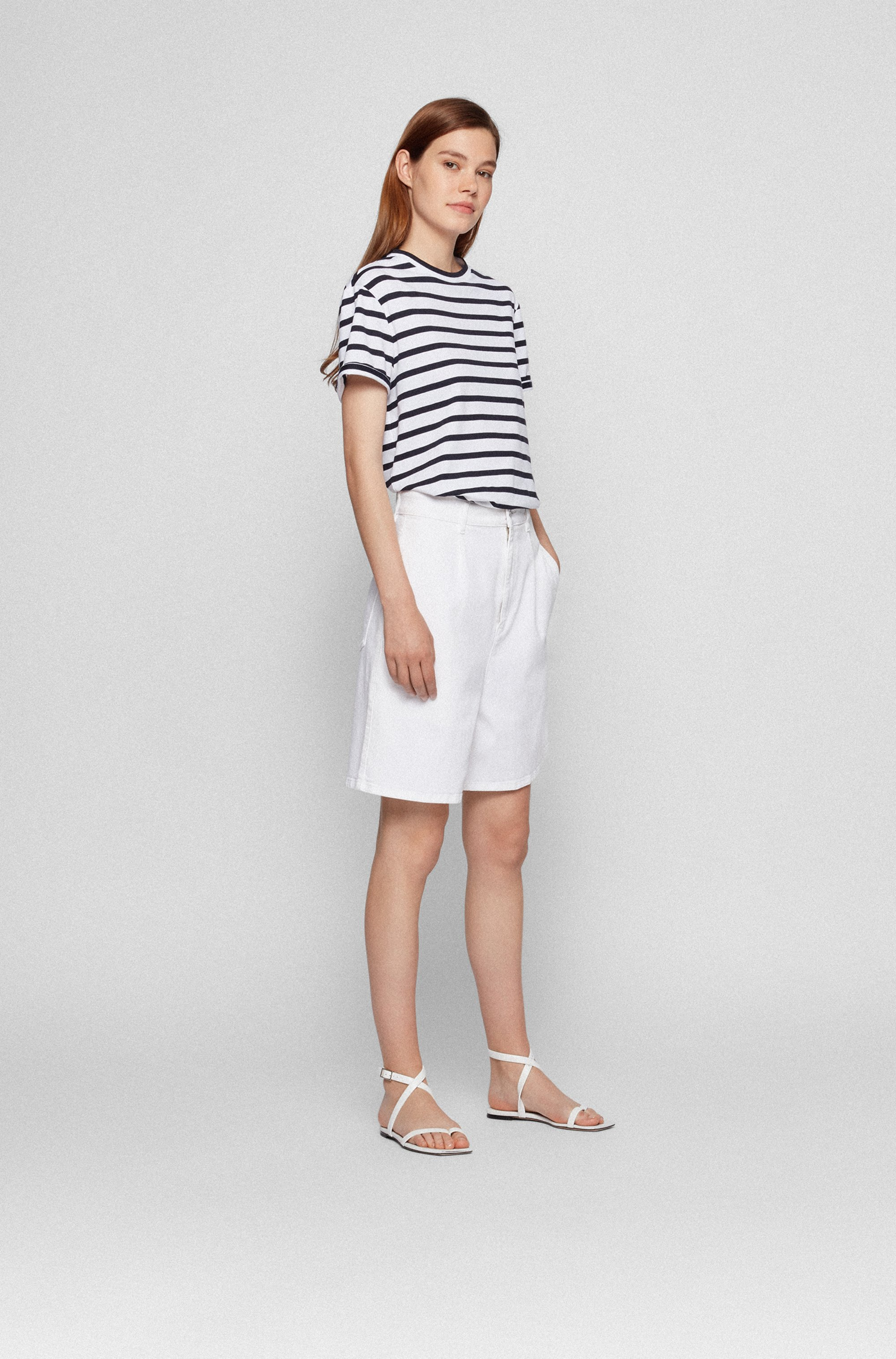 Striped crew-neck-T-shirt in cotton-blend jersey