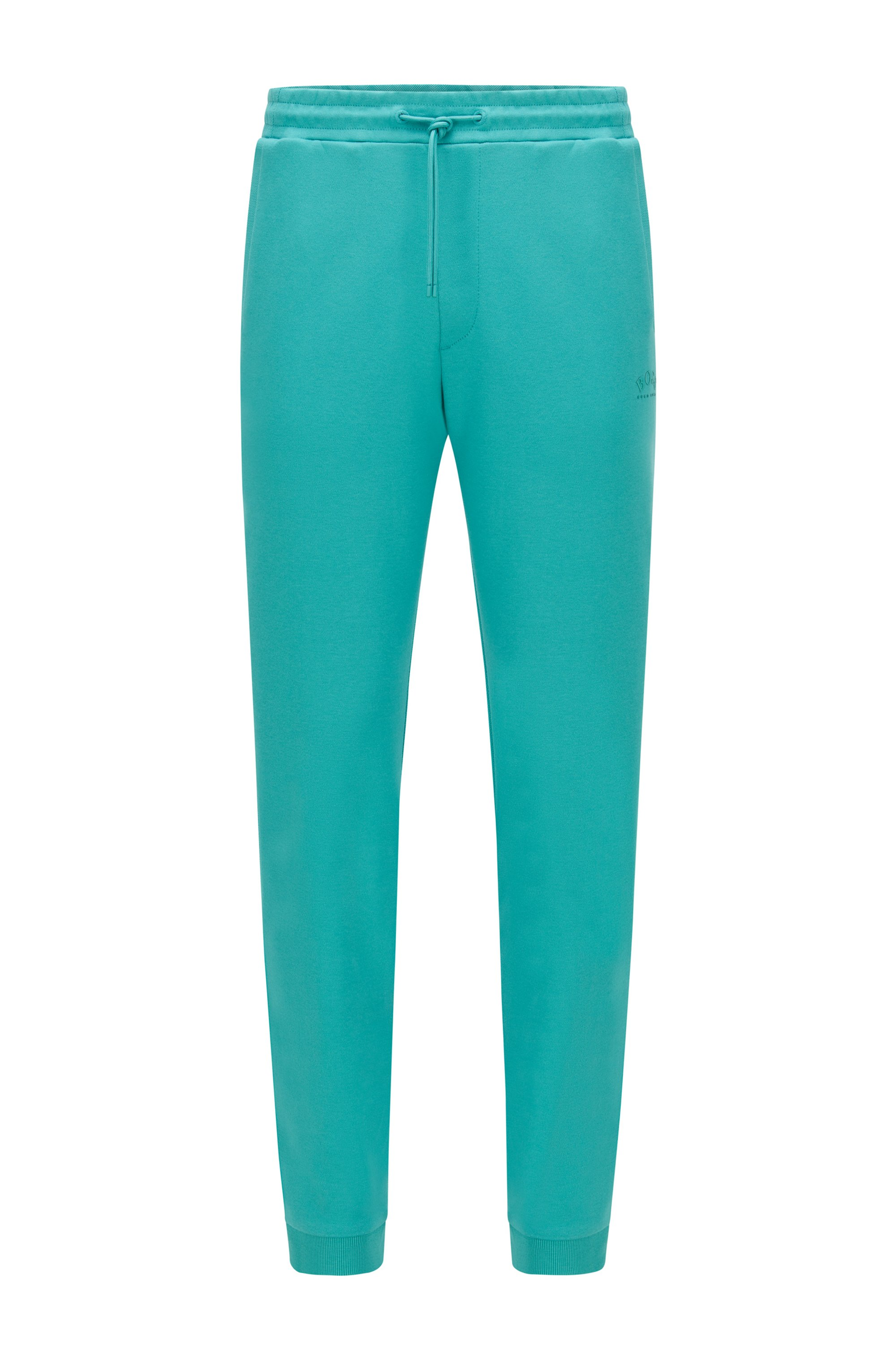 Cuffed tracksuit bottoms in cotton with tonal piqué structure, Turquoise