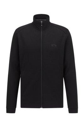 Zip-through logo sweatshirt with phone pocket, Black