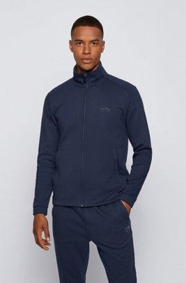 Zip-through logo sweatshirt with phone pocket, Dark Blue