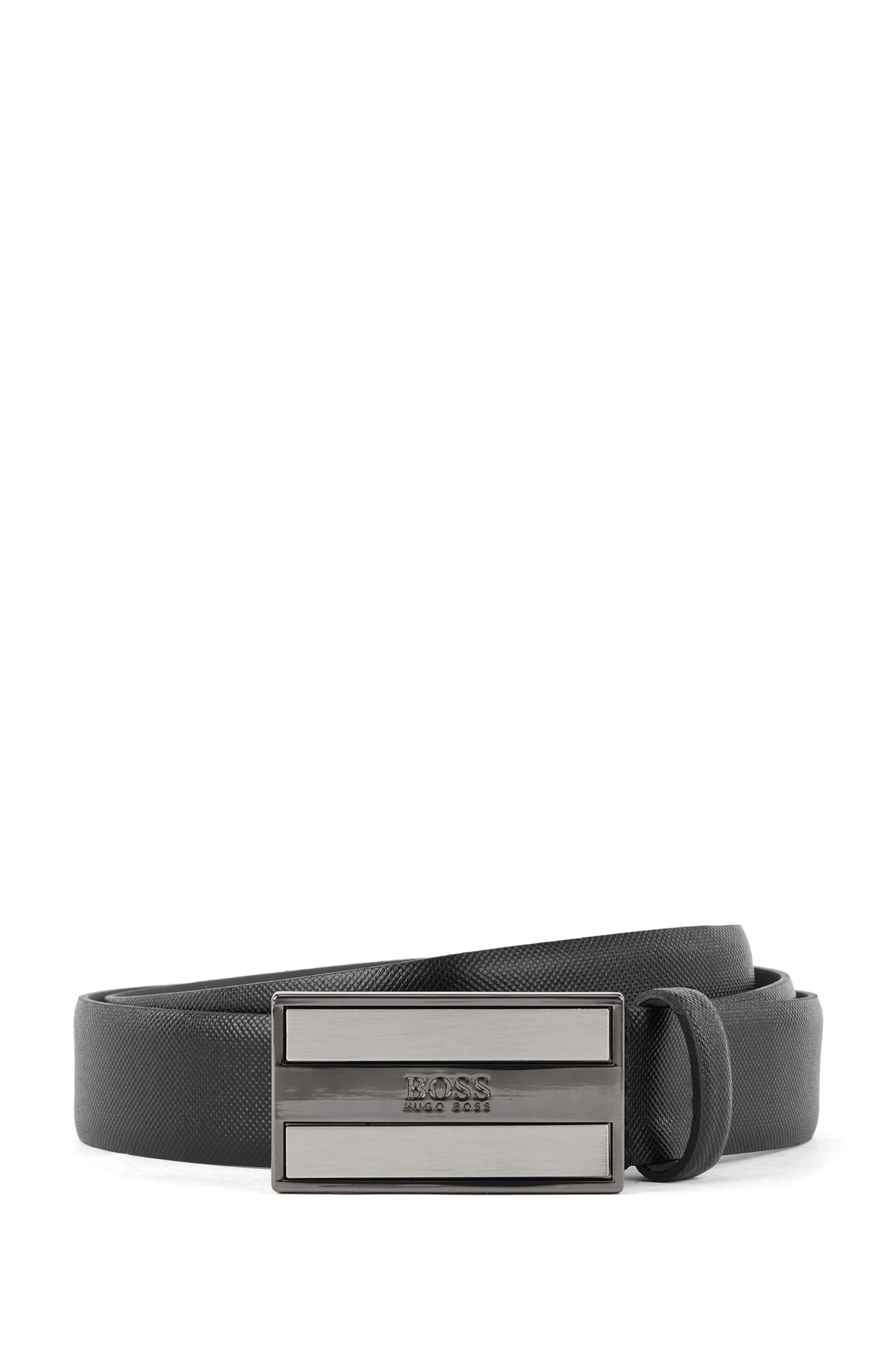 Printed-leather belt with signature plaque closure, Black