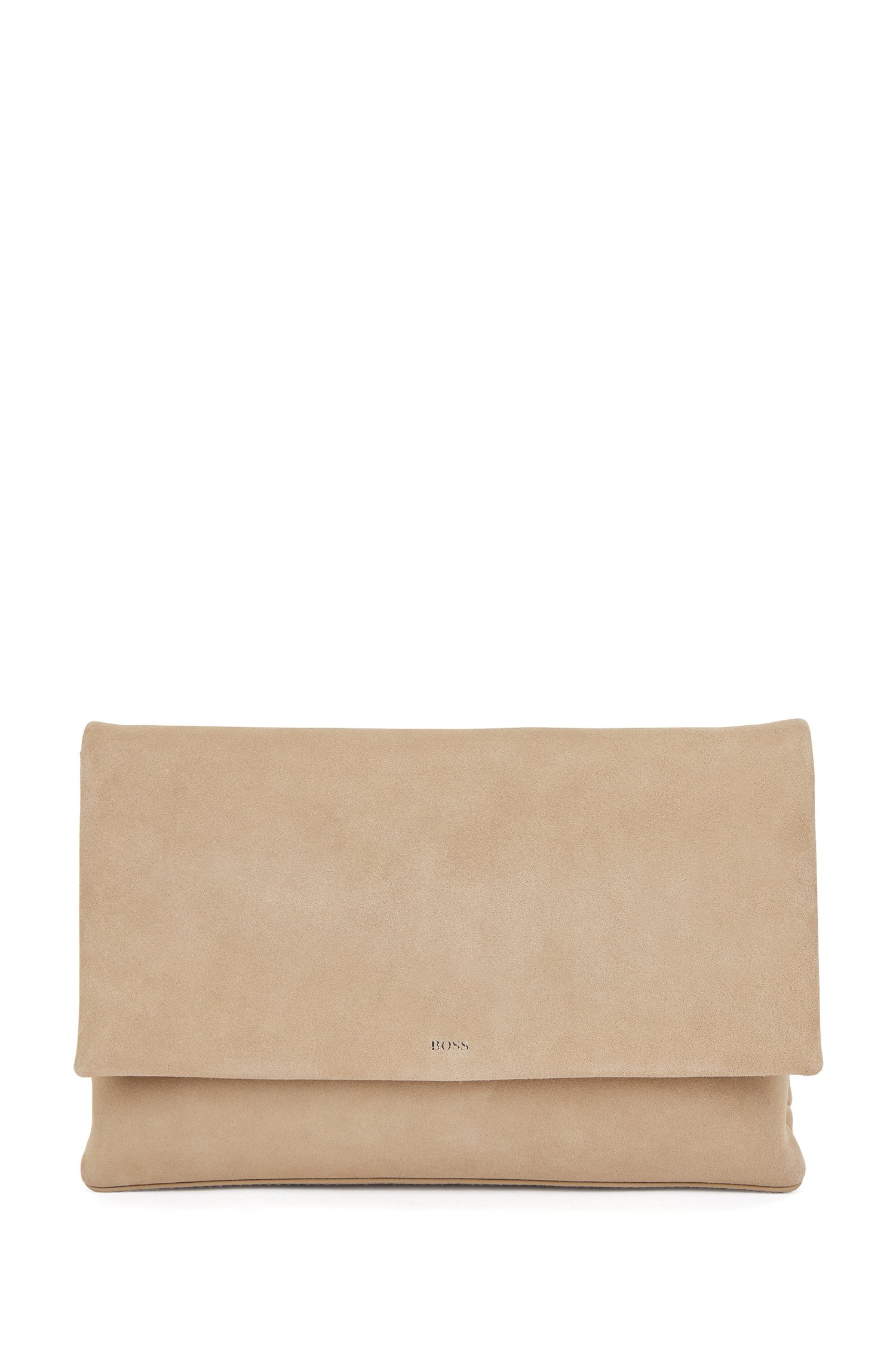 Logo clutch bag in soft suede with magnetic closure, Beige