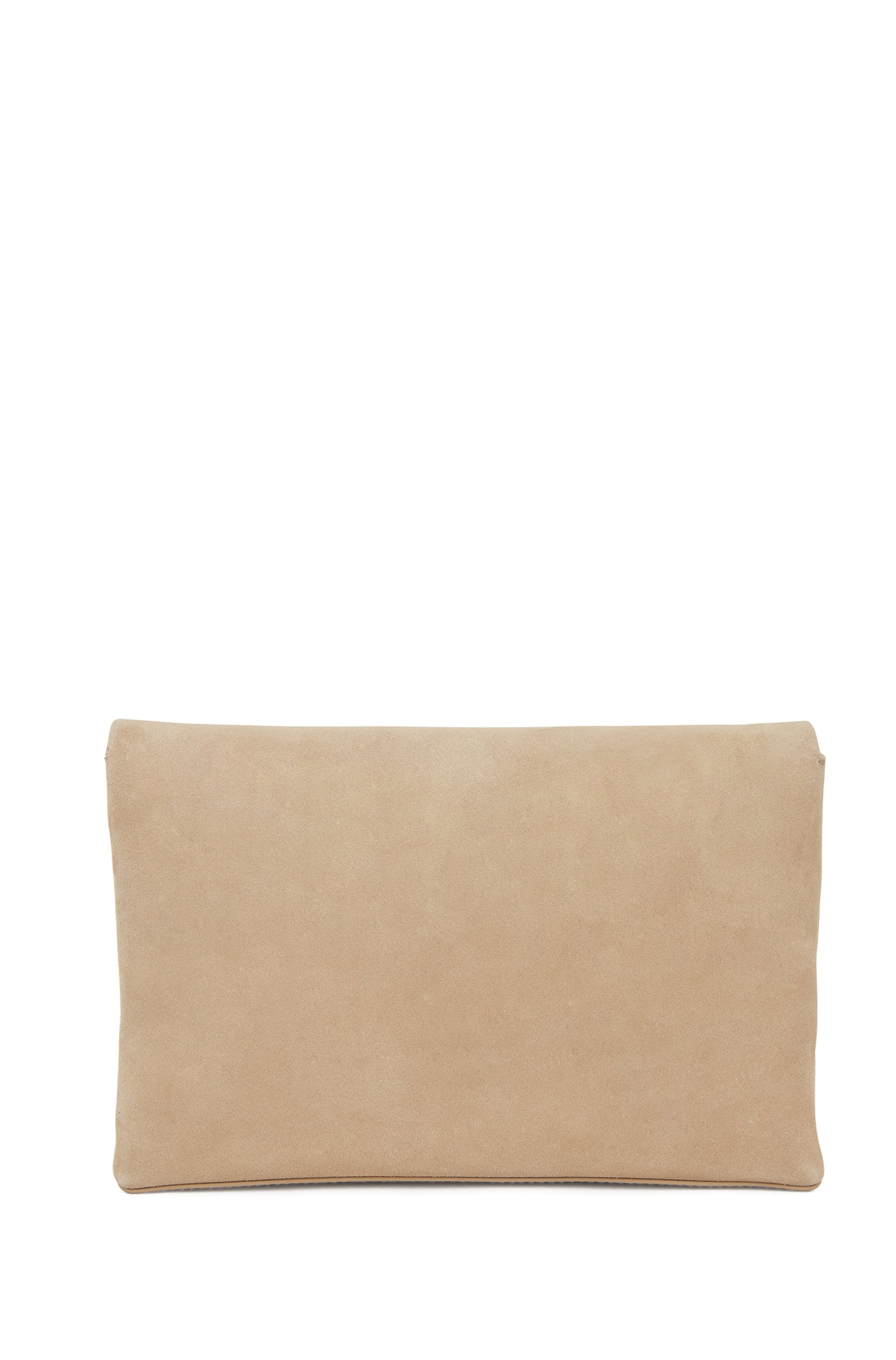 Logo clutch bag in soft suede with magnetic closure