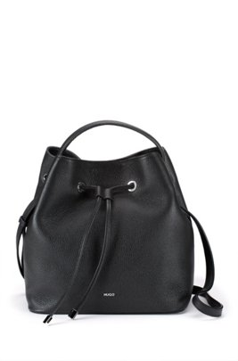 Bucket bag in grained leather with new-season hardware, Black