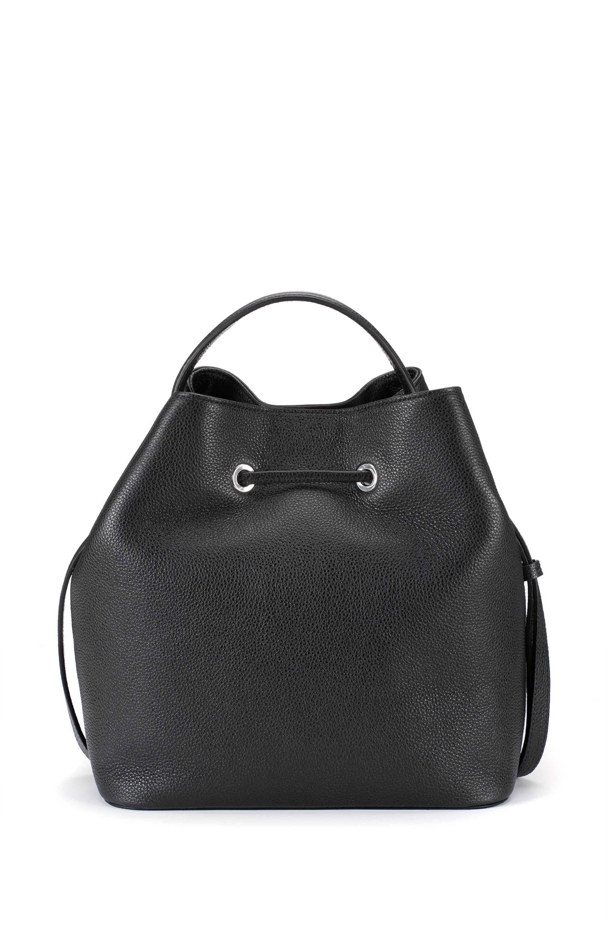 Bucket bag in grained leather with new-season hardware