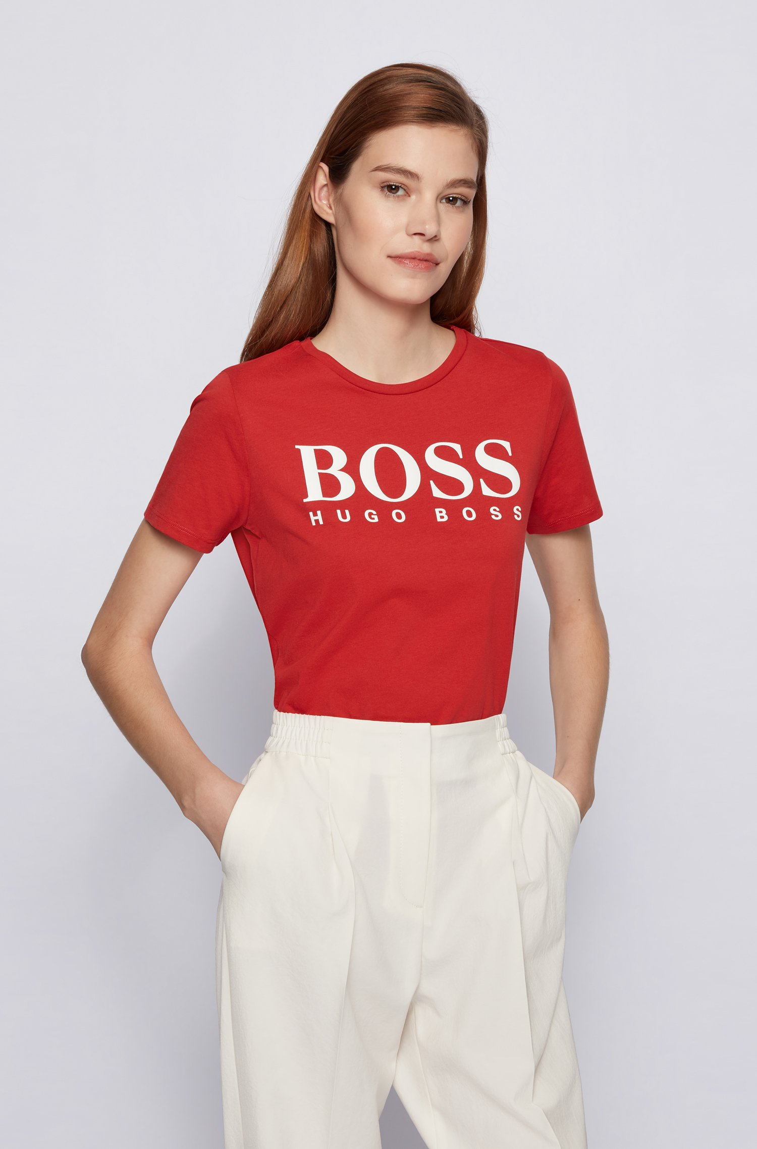 Organic-cotton T-shirt with large-scale logo print, Red