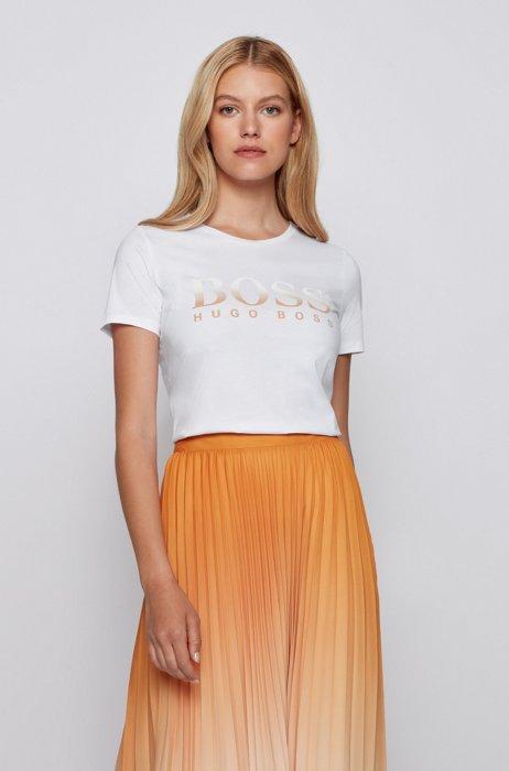 T-shirt en coton biologique à col rond et logo imprimé, Blanc