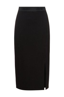 Pencil skirt in stretch jersey with logo waistband, Black