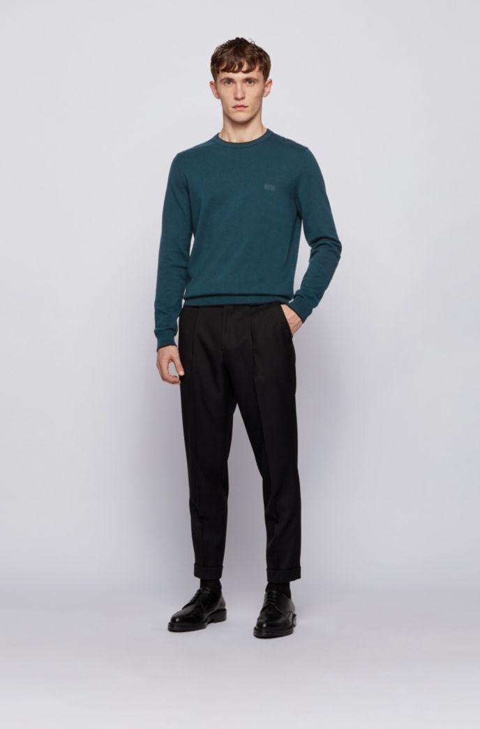 Jersey de cuello redondo en mezcla de lana con ribetes en contraste
