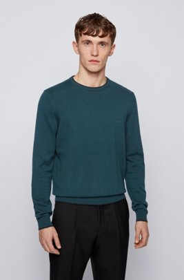 Jersey de cuello redondo en mezcla de lana con ribetes en contraste, Cal