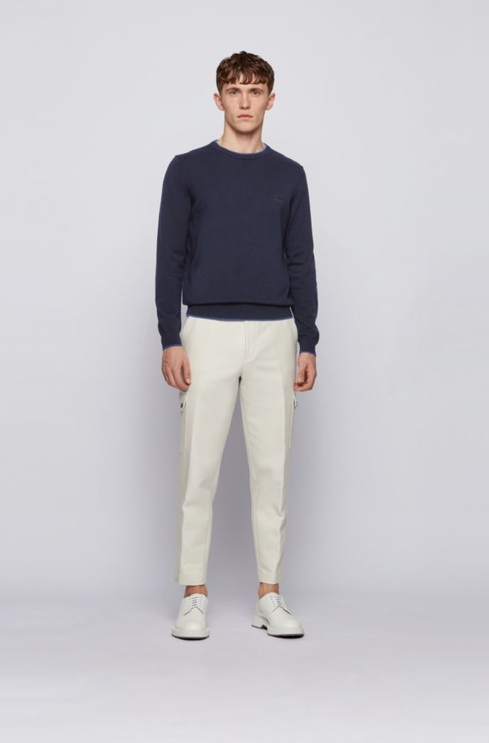 Crew-neck wool-blend sweater with contrast trims