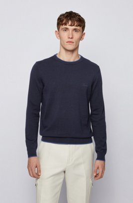 Crew-neck wool-blend sweater with contrast trims, Dark Blue