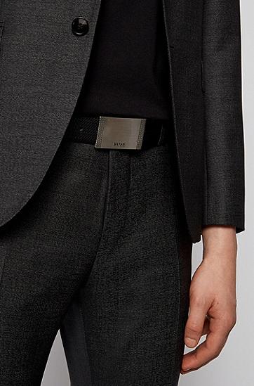 交织字母图案意大利皮革双面腰带,  002_Black