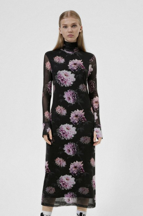 Tube dress in stretch mesh with dahlia print, Patterned