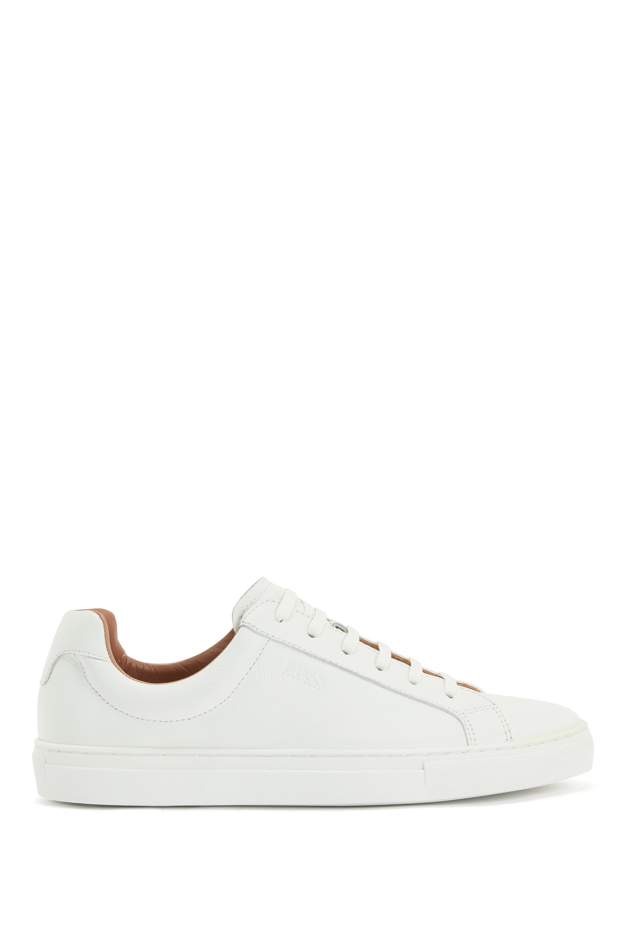 Low-top trainers in tumbled leather with embossed logo, White