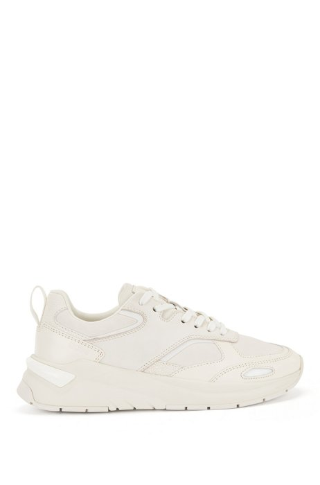 Tonal leather trainers with debossed branding, White