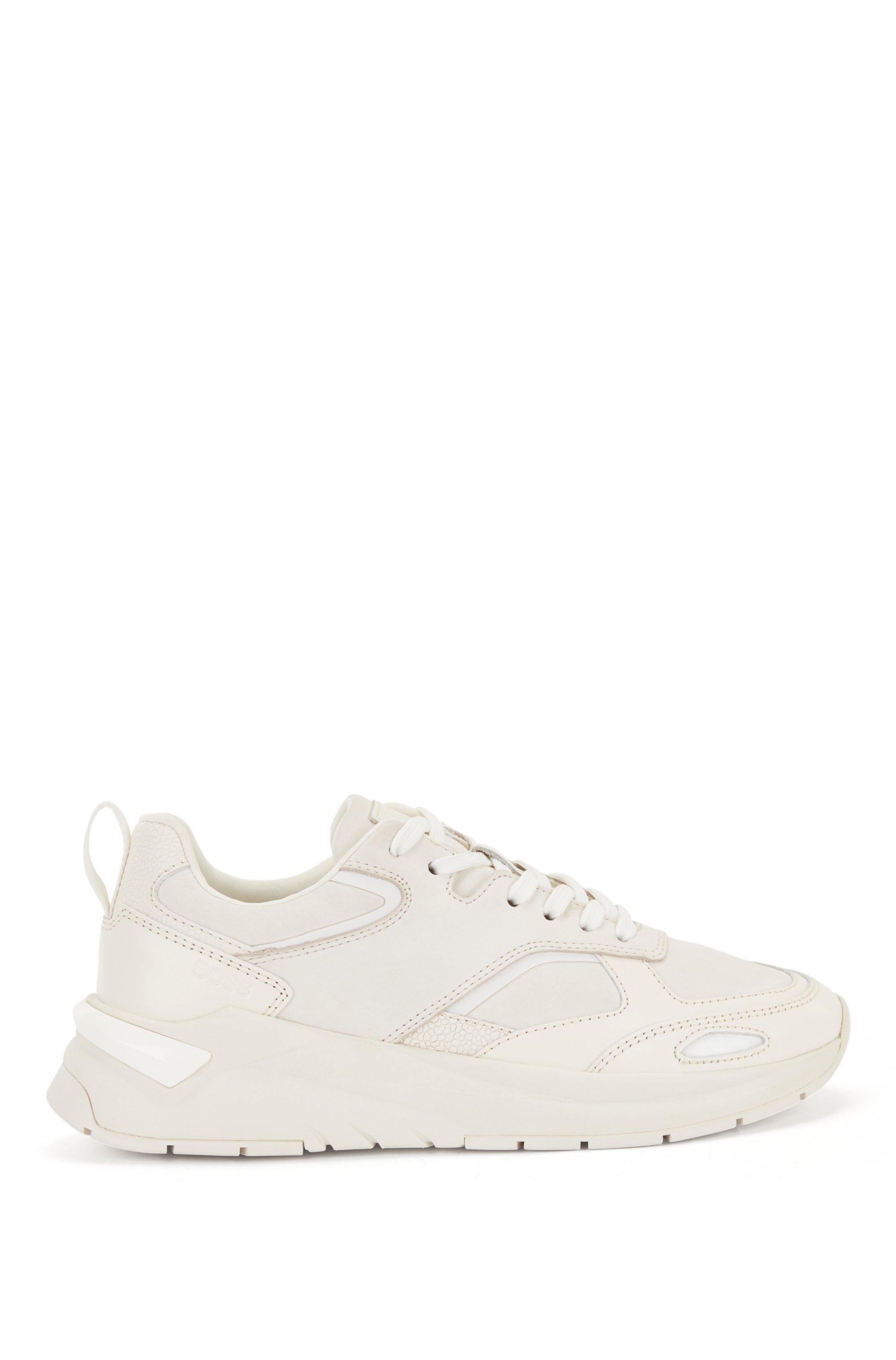 Tonale Ledersneakers mit Logo-Prägung, Weiß